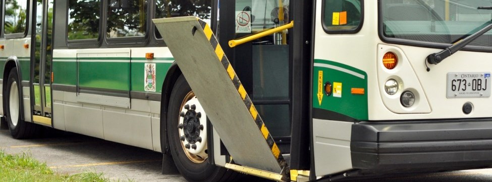 Ramp on an accessible, low-floor bus