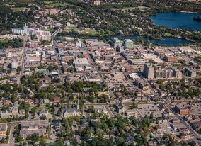 Aerial photo of Peterborough with downtown and lake