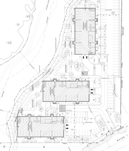 Site map showing layout of three multi-residential buildings