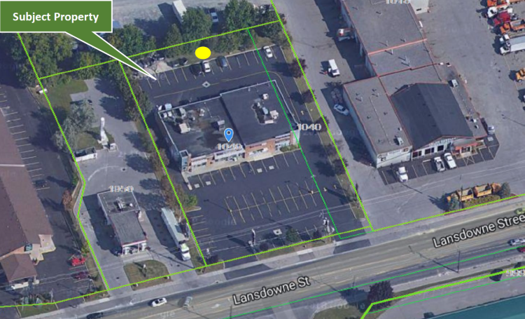 Map of location for telecommunication tower at 1040 Lansdowne Street West