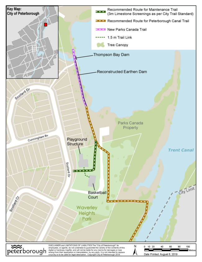 Map of Waverley Heights maintenance access trail