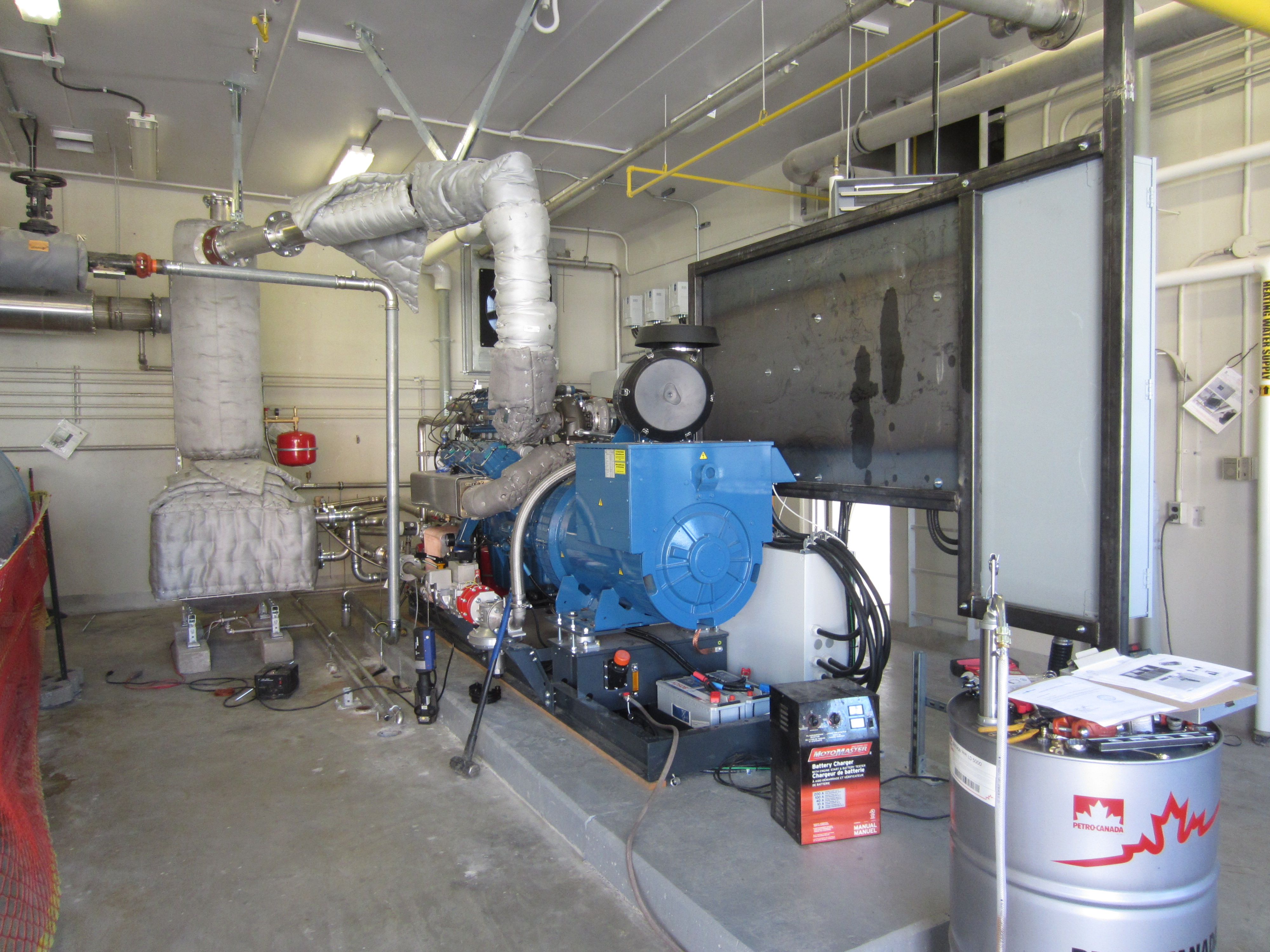 Image of the bio gas engine inside the waste water treatment plant facility.