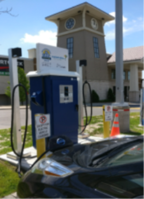 Image of electric vehicle chraging station located at Lansdowne place mall in Peterborough, Ontario.