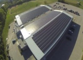 Ariel image of the solar panels mounted on top of the Kinsmen Civic Centre.