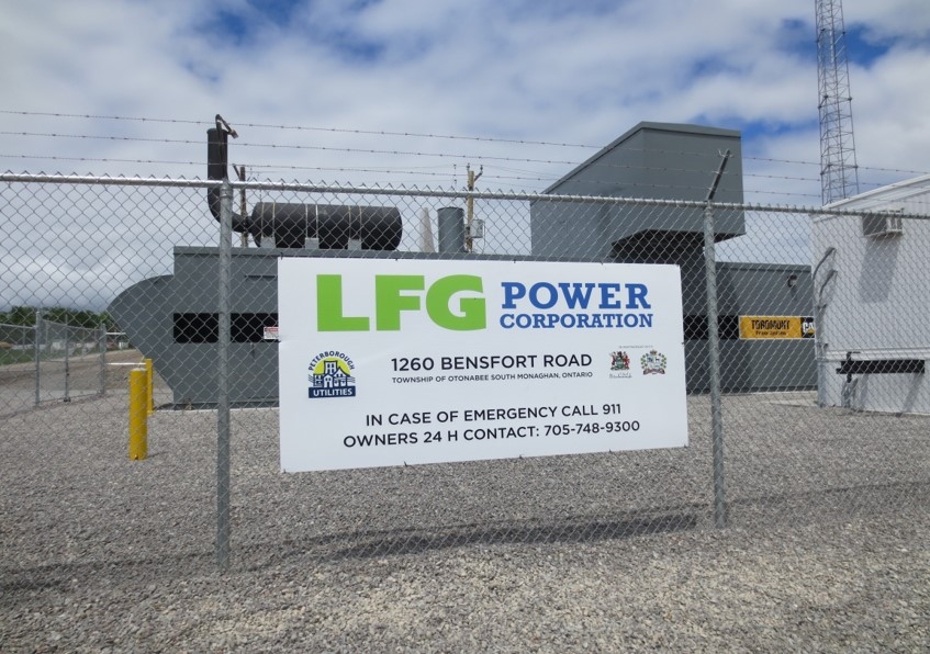 Image of the sign for the land fill gas facility located on Bensfort Rd