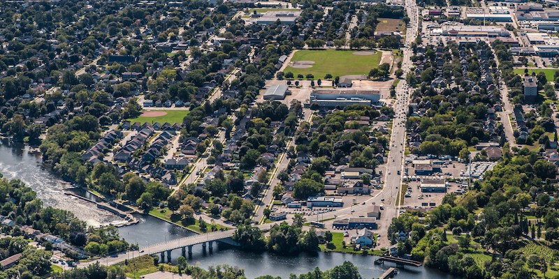 Aeriel of Peterborough Otonabee River