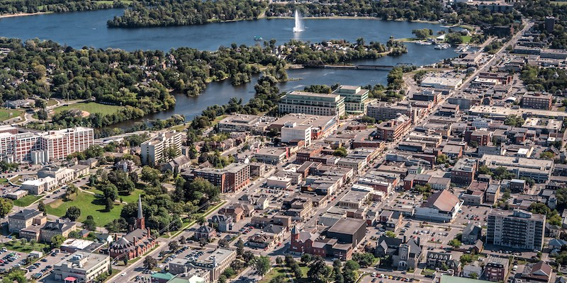 Aerial of Otonabee River in downtown Peterborough