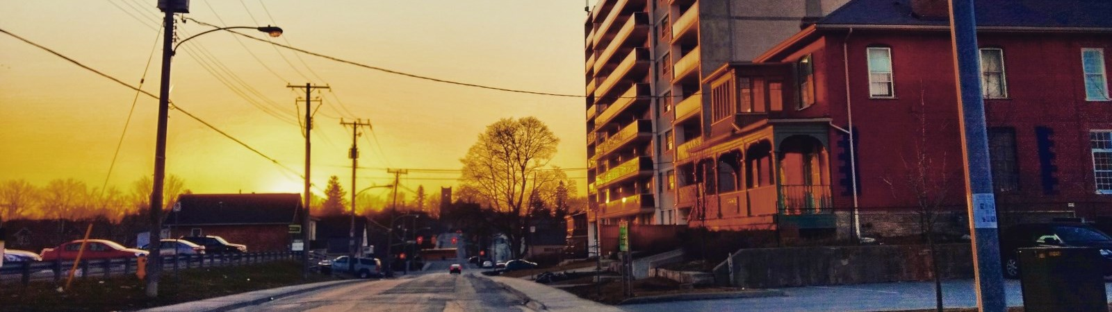 Photo of Brock Street Peterborough at sunset.