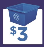 Recycling bin with the $3 money symbol