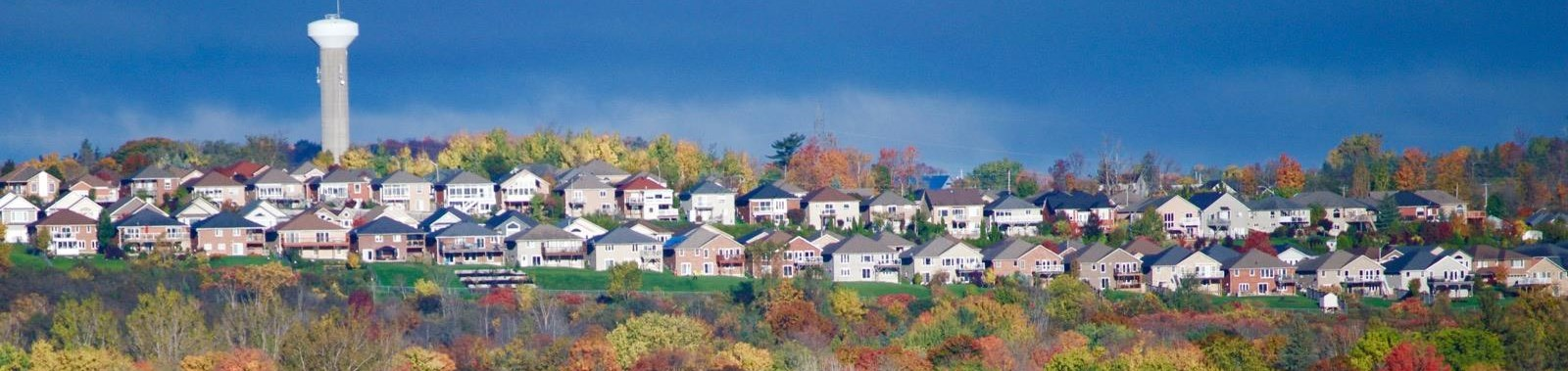Landscape view of city houses and trees in the fall