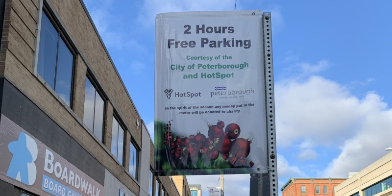 Holiday parking sign on George Street