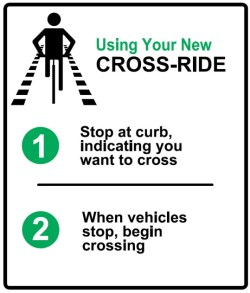 Cyclist cross-ride sign detailing crossing procedure