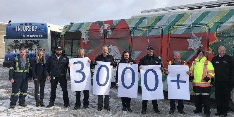 Transit employees holding a sign saying 3000