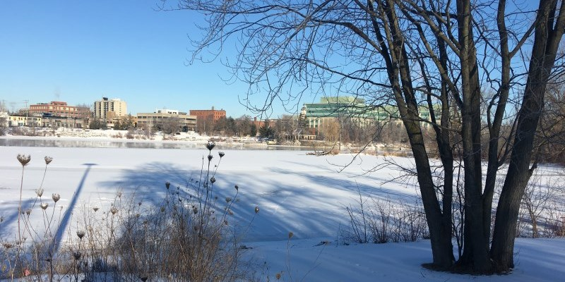 Winter view of downtown from across the Otonabee River