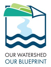 Project logo with hills a river and peterborough wave symbol