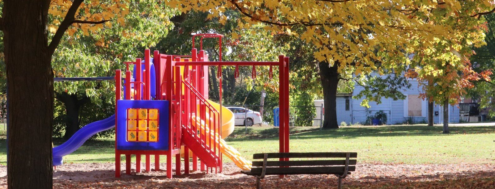 playground with fall foliage