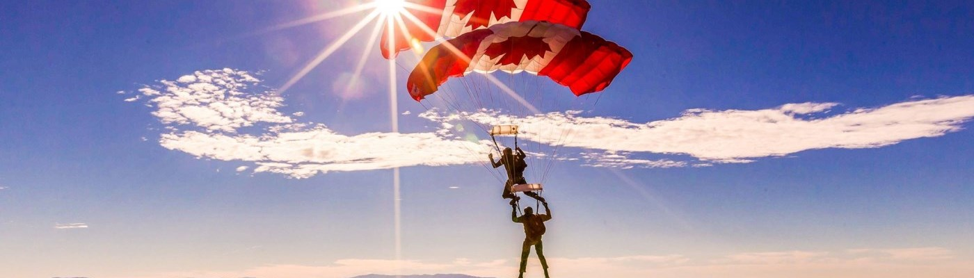 SkyHawks parachuting with Canada Flag parachutes