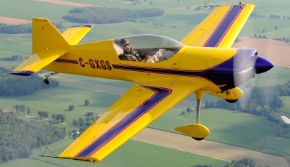 MKT Aerobatics plane in the air