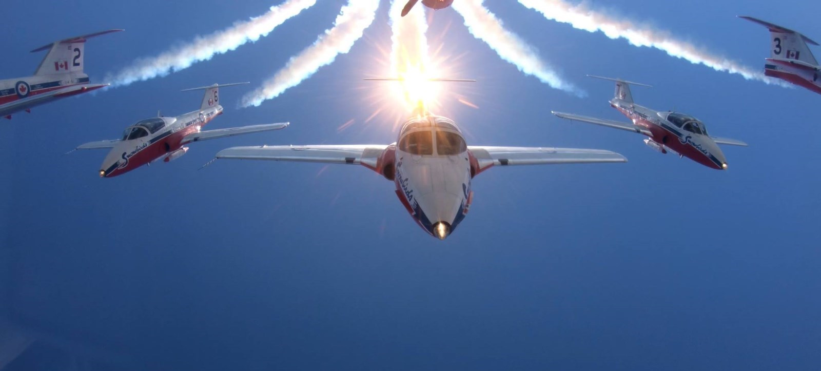 Snowbirds with sunburst