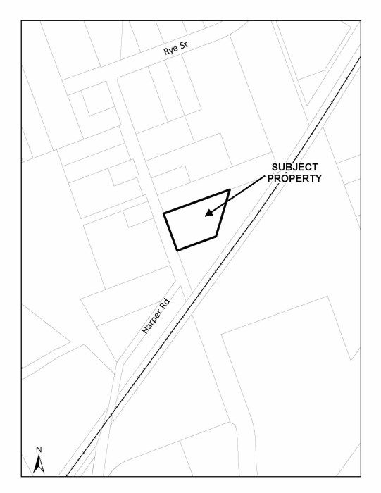 Map showing location of proposed development