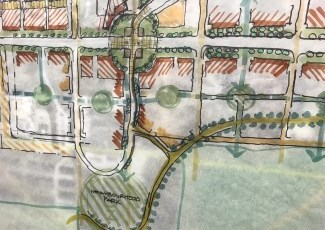 Drawing of map of streets, roundabout and residential properties