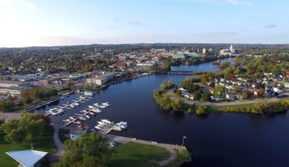 Aerial photo of Peterborough showing marina, downtown and river