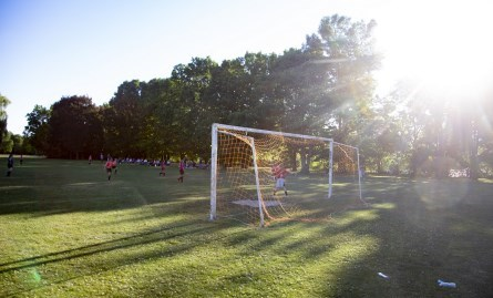 soccer game in Eastgate field, summer