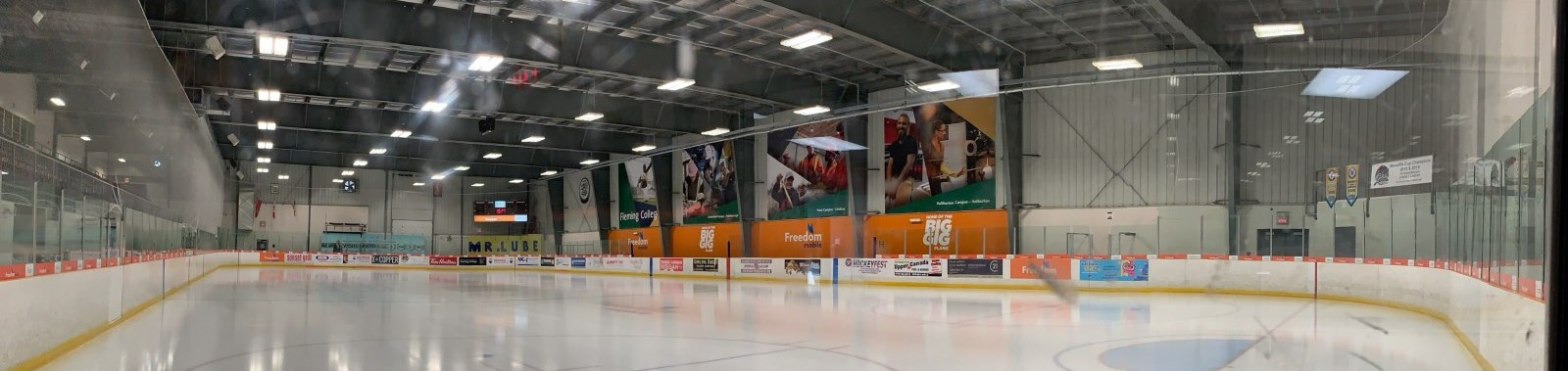 panorama view of ice rink in Evinrude Centre
