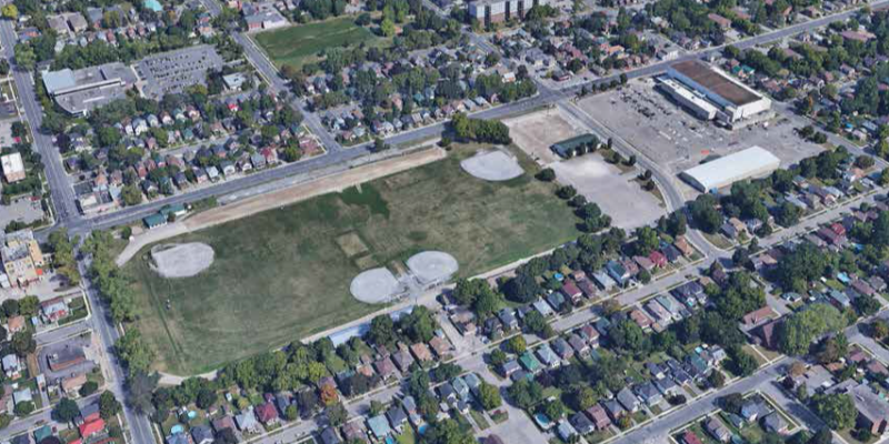 Aerial of Morrow Park and PMC