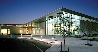 Peterborough Sport and Wellness Centre main entrance at night