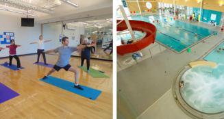 collage of fitness classes and pool