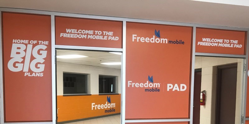 Freedom mobile lobby at the Evinrude centre