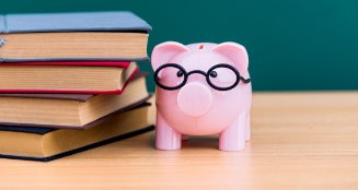 Books and piggy bank